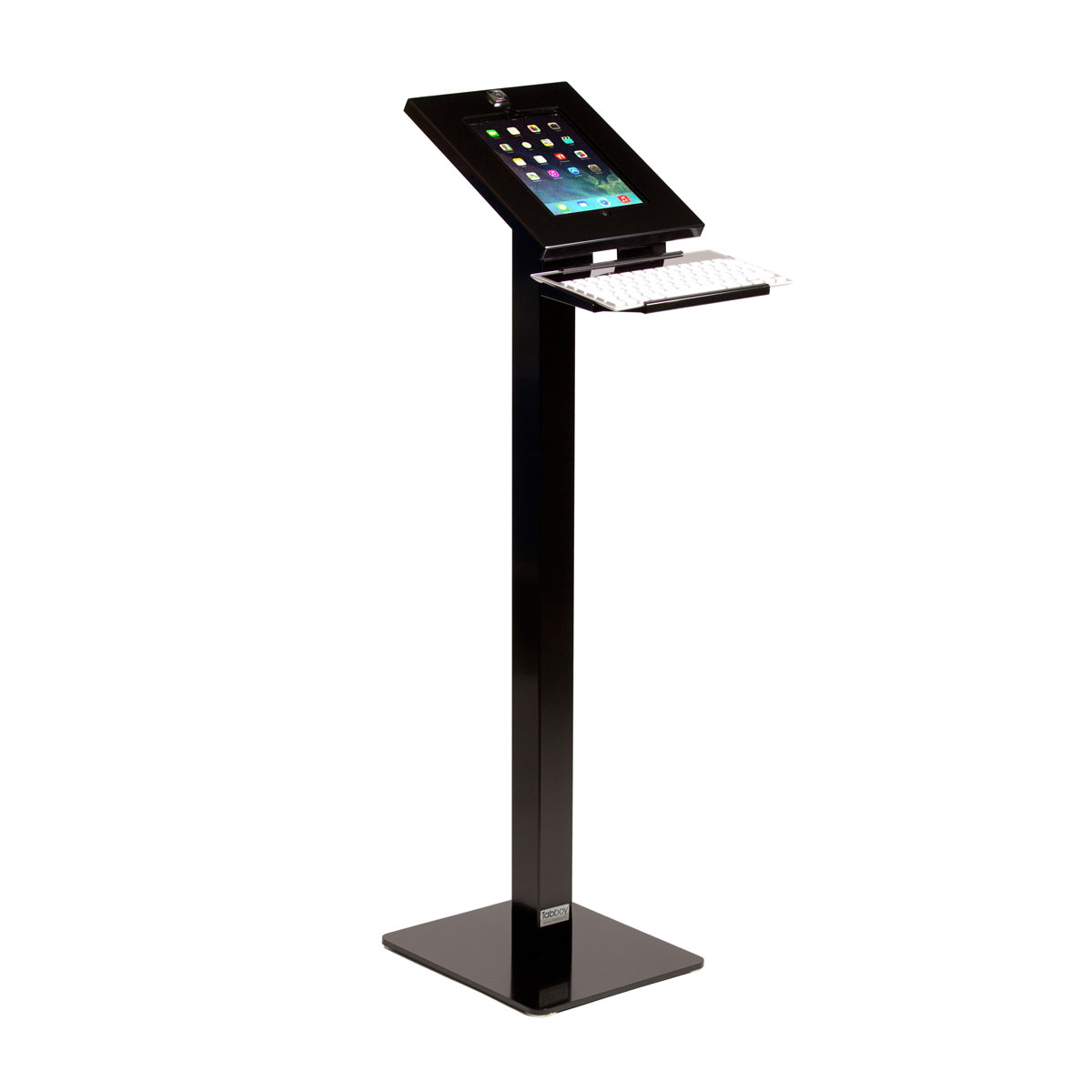 Tablet floor stand with keyboard